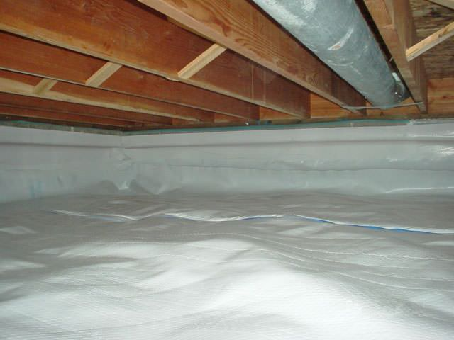 A Moisture Barrier Installed On The Walls And Floors Of Crawl E In Rensselaer