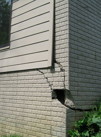 severe cracking of structural walls in Latham