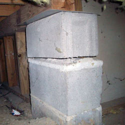 Collapsing crawl space support pillars Fort Edward