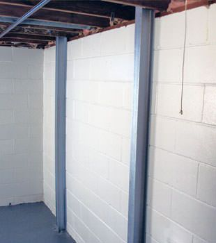 A PowerBrace™ i-beam foundation wall repair system in Schenectady