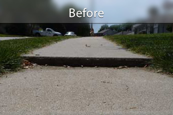 Before photo of PolyLevel® concrete sidewalk repair