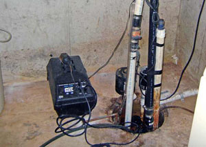 Pedestal sump pump system installed in a home in Glens Falls