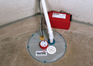 A sump pump system with a battery backup system installed in Slingerlands
