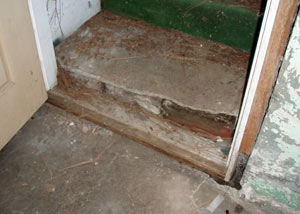A flooded basement in Catskill where water entered through the hatchway door