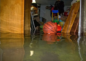 A flooded basement bedroom in East Greenbush