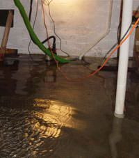 Several feet of floodwaters in a Altamont basement