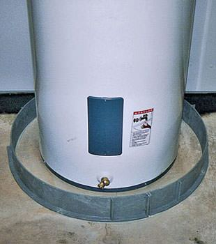 An old water heater in Catskill, NY with flood protection installed