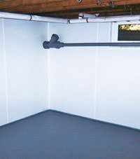Plastic basement wall panels installed in a Latham, New York home