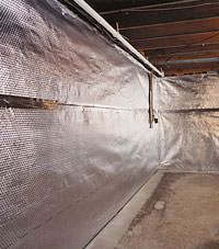 Radiant heat barrier and vapor barrier for finished basement walls in Latham, New York